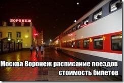 Москва Воронеж расписание поездов стоимость билетов